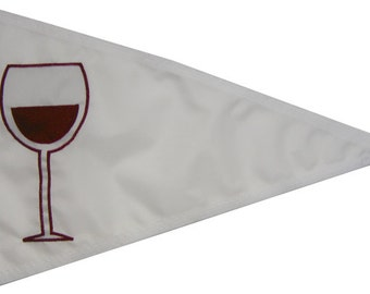 Wine Glass Pennant: (Various Sizes/Colors) Handsewn Red Wine/ Merlot/ Syrah/ Cabernet Boating Flag- Appliqued in the USA