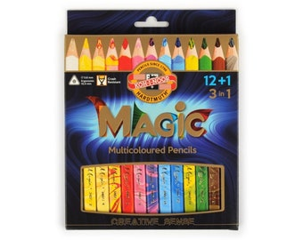 Magic crayon colored pencils set 3408 13pcs jumbo triangular KOH I NOOR drawing coloring multicolored special new