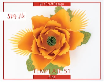 SVG Paper flower DIY, Paper Flower Template, Giant Paper Flower Templates, Cricut and Silhouette Ready, Base Including
