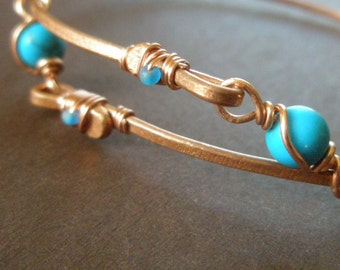 Hammered Copper Adjustable Bangle Bracelet Turquoise Howlite Wire Wrapped Links