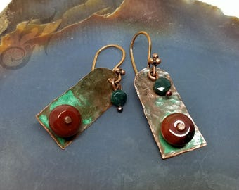 Metalwork Earrings ~ Hammered Copper, Carnelian, Jasper, OLD Metal Natural Green Vertigris Patina, Tacoma City Hall Relics Collection #E0885
