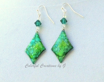 EMERALD ELEGANCE with Swarovski crystals and Alcohol Inks.