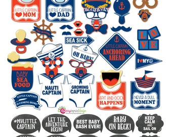 47 Funny Nautical Little Captain Anchor Baby Shower Photo Booth Props - INSTANT DOWNLOAD - DIY Printable
