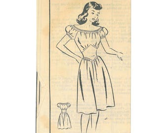 "Very Rare Off Shoulder ""Date Frock"" Dirndl pattern - 1940 - Complete, original, Aldens #4642"