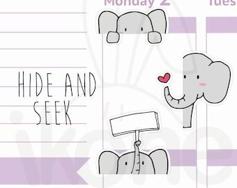 Cute Elephant Planner Stickers, baby elephant Stickers for planner - kawaii elephant sticker sheet