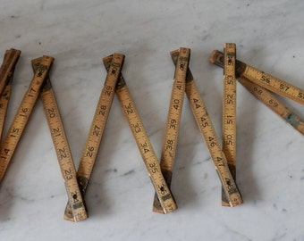 Vintage Luftin Industrial Wooden Folding Ruler