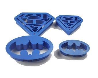 Super Hero Superman Batman Cookie Cutter Mold Set - 4 pc set