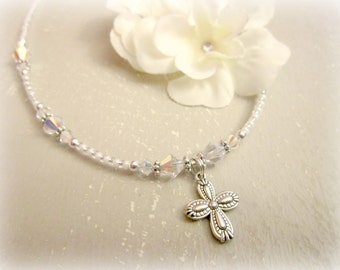Children's Cross Necklace.Girls Baptism Gift. Flower Girl Necklace. Baptism Jewelry. Christening Jewelry. Gift for Baby.First Communion Gift