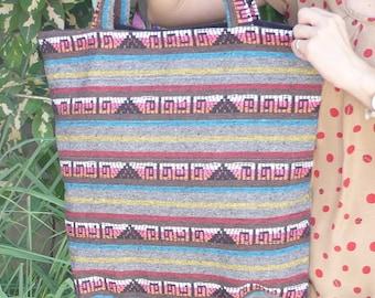 Woven Tote Bag, Shoulder Tote Bag, Hippied Bag, Ethnic Thai Bag