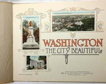 antique souvenir booklet Washington DC capitol monuments lithograph complete perfect