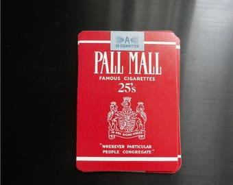 Vintage 1980's Red  Pall Mall 25's Cigarettes Deck of Playing Cards  1662