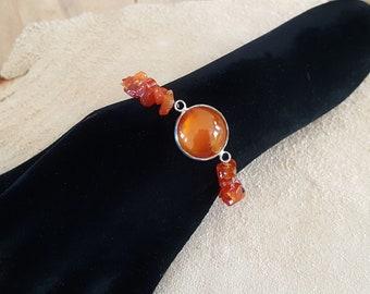 Bracelet with the gemstone carnelian, hand cut and polished