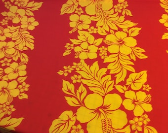 Classic Red and Yellow Border Hawaiian Print in Poly Cotton   (Yardage Available)