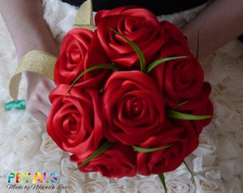Gorgeous Red Ribbon Rose Wedding Bouquet, Handmade Satin Rose Bouquet