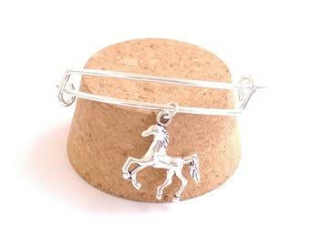 Horse charm bangle bracelet
