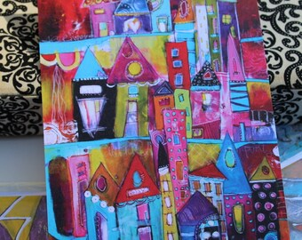 """Best Seller! Flat Note Card miniature Art note cards  """"Sunset Beach"""" funky houses  by Jodi ohl"""