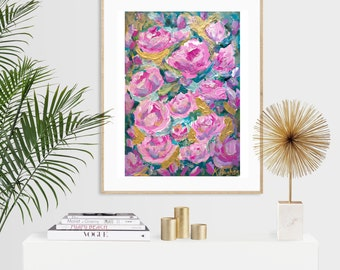 Rosalie - Pink Roses Abstract Impressionist Acrylic Painting Luxury Print - A5 or A4