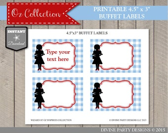 INSTANT DOWNLOAD Wizard of Oz Inspired Editable Buffet Labels / You Type Text / Oz Collection / Item #106