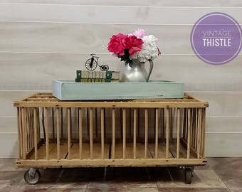 Farmhouse Chic Chicken Crate Coffee Table Upcycled Repurposed