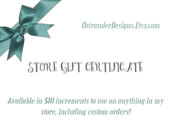 Gift Certificate, Store Certificate, Gift Card, Printed Gift Certificate, Store Credit, Christmas Gift, Shop Certificate