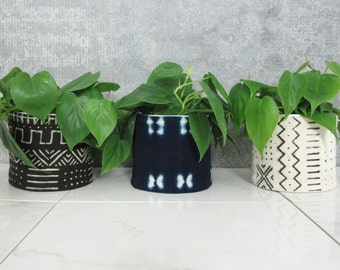 Mudcloth Planters / African Mud Cloth Plant Pots Unique Planter Bogolanfini Ethnic Textile Indigo Black White Cream Block Printed Organic