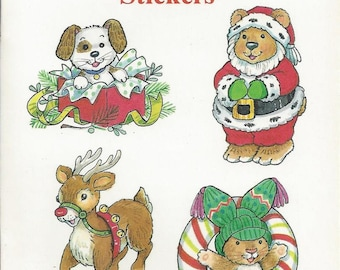 Vintage Cathy Beylon Favorite Christmas Stickers Dover Publications Book, 1995
