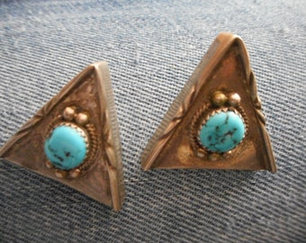 Sterling Silver and Turquoise Southwestern Collar Tips