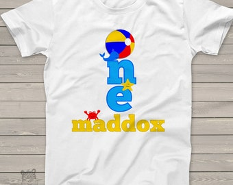 Personalized ocean sealife beach birthday theme Tshirt for first, second, third and beyond MBD-027