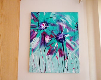 Aqua and White Abstract Spring Flower Acrylic Painting  Bursting with Bold Colors