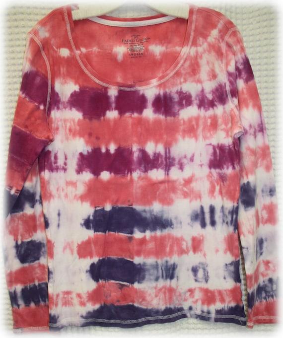 Hand Dyed Desert Bloom Adult Tie Dye Long Sleeved Women's Shirt