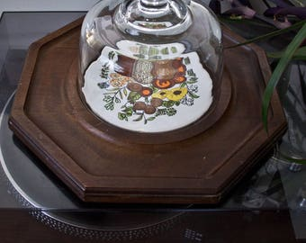 Wooden Octagon and Tile Cheese board with Glass Dome - Vintage Serving Tray