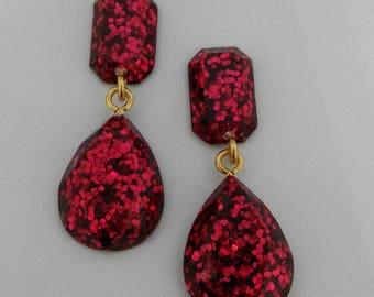 Glittery Gem Earrings-- Red glitter teardrops with emerald-cut style accents