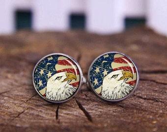 Bald Eagle Cufflinks, Tie Clips, American Flag Cufflinks, USA Flag Cuff Links, Patriot Cuff Links, Antique Flag, Vintage cufflinks, National