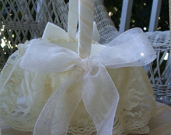 Wedding Flower Girl Basket Handmade Organza with Lace Skirt Flowergirl of White or Ivory