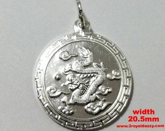 Chinese Zodiac Horoscope 999 fine Silver Round Year of Dragon Pendant charm