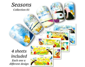4x Full Cover Nail Art Water Stickers Wraps Transfers Seasons Collection 01, Spring, Summer, Autumn, Winter, Toucan Scenes Z240