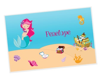 Mermaid Personalized Placemat - Mermaid Sea Floor with Name, Customized Laminated Placemat