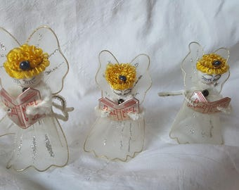 3 Vintage Christmas Angels White Netting Wings Spun Cotton  Heads
