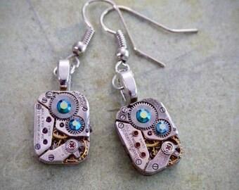 Steampunk ear gear - Ice Blue - Steampunk Earrings - Repurposed art