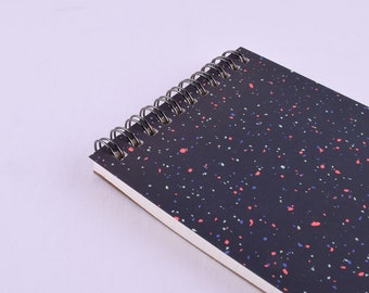 """Dark Sparkles Notebook  – Spiral binding – 4"""" x 6"""" – Ruled pages"""