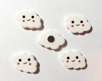 Cloud Magnets, set of five, kawaii clouds, Happy Clouds, super strong, locker decoration, fridge magnets