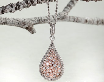 Diamond Pendant in Solid 14k Rose and White Gold