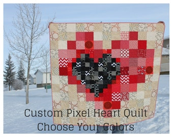 Custom Homemade Quilt, Pixel Heart Lap Quilt, Choose Your Colors, Homemade Throw Quilt, Custom Quilt, One of a Kind OOAK 47.5 x 51.5 inches