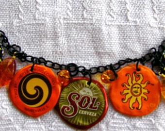 Recycled bottle cap SUN necklace, Upcycled bottle cap SUN necklace,Earth friendly bottle cap SUN necklace