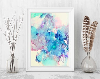 Abstract Floral Art, Pastel Painting, Giclee Print, Home Decor, Wall Art, Pastel, painting