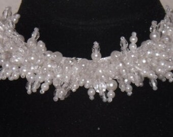 Necklace: White Sparkling beads