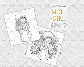 Fall Clipart, Mori Girl, Digital Stamp, Coloring Book, Coloring Page, Adult Coloring Book, Autumn, Fall, Planner Stickers, Digi Stamps