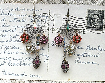 vintage rhinestone ball earrings assemblage holiday glam upcycled flea market jewelry winter leaves