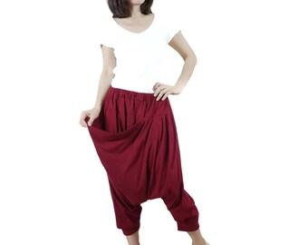Sale - Funky Harem Boho Drop Crotch Burgundy Cotton Jersey Pants With Front Pocket And Elastic Waist