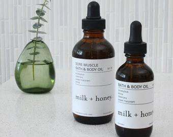 milk + honey Sore Muscle Bath & Body Oil, Eucalyptus, Arnica, Rosemary, Sweet Marjoram 2oz